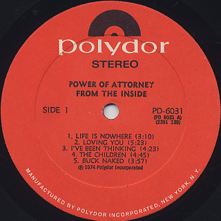 Power Of Attorney / From The Inside label