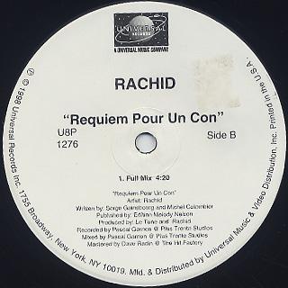 Rachid / Requiem Pour Un Con label