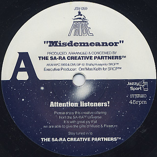 Sa-Ra Creative Partners / Misdemeanor c/w Budamunky / What I Need back