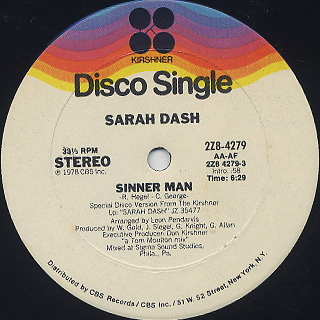 Sarah Dash / Sinner Man back