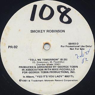 Smokey Robinson / Tell Me Tomorrow label