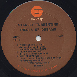 Stanley Turrentine / Pieces Of Dreams label