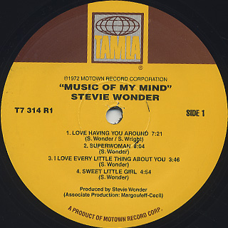 Stevie Wonder / Music Of My Mind label