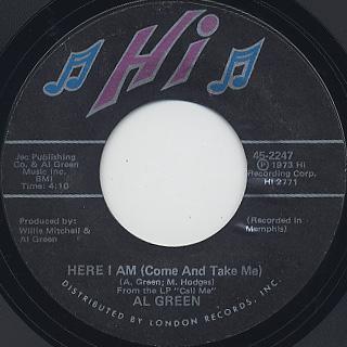 Al Green / I'm Glad You're Mine c/w Here I Am back