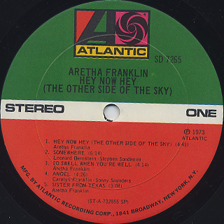 Aretha Franklin / Hey Now Hey(The Other Side Of The Sky) label