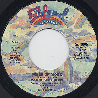 Carol Williams / More c/w More Of More (Disco Version) back