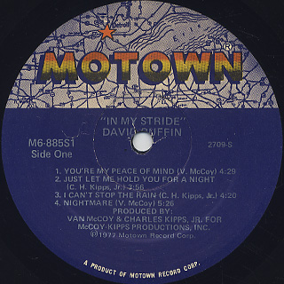 David Ruffin / In My Stride label