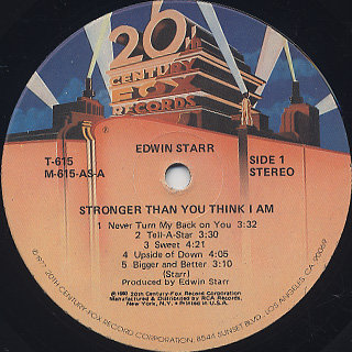 Edwin Starr / Stronger Than You Think I Am label