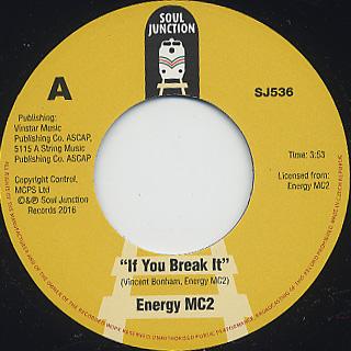 Energy Mc2 / If You Break It c/w Otherside Of The Mirror back