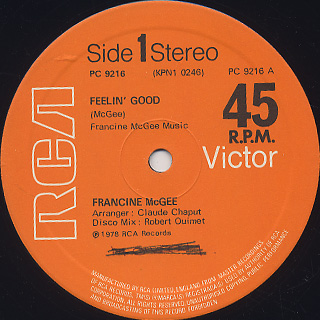 Francine McGee / Feelin' Good back