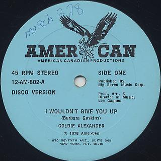 Goldie Alexander / I Wouldn't Give You Up back