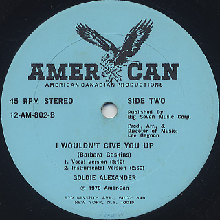 Goldie Alexander / I Wouldn't Give You Up label