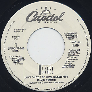 Grace Jones / Love On Top Of Love-Killer Kiss (7