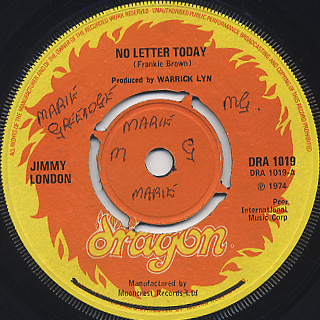Jimmy London / No Letter Today c/w The Road Is Rough