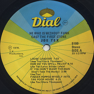 Joe Tex / He Who Is Without Funk Cast The First Stone label