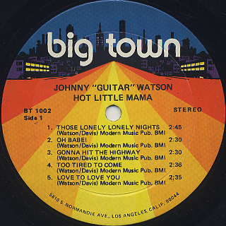 Johnny Guitar Watson / Hot Little Mama label