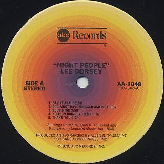 Lee Dorsey / Night People label