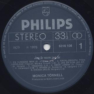 Monica Tornell / Jag Ar Som Jag Ar label