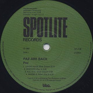 Paz / Paz Are Back label