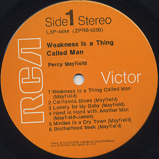 Percy Mayfield / Weakness Is A Thing Called Man label