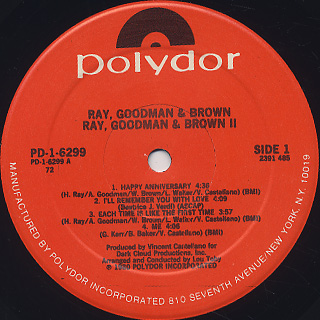 Ray, Goodman & Brown / Ray, Goodman & Brown II label