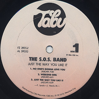 S.O.S. Band / Just The Way You Like It label