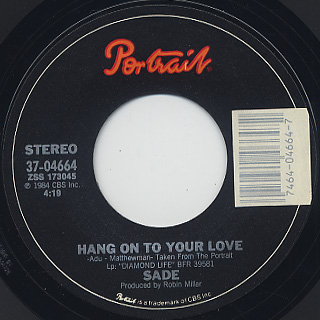 Sade / Hang On To Your Love c/w Cherry Pie back
