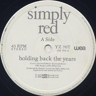 Simply Red / Holding Back The Years label