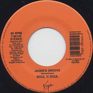 Soul II Soul / Jazzie's Groove c/w Gregski Edit back