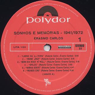 Erasmo Carlos / Sonhos E Memórias 1941 - 1972 label