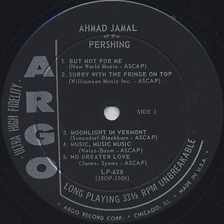 Ahmad Jamal Trio / Ahmad Jamal At The Pershing label