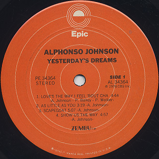 Alphonso Johnson / Yesterday's Dreams label