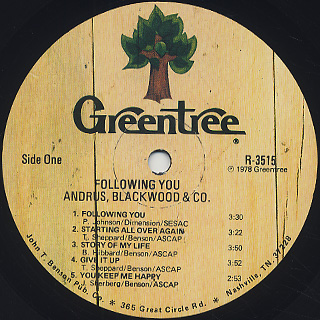 Andrus, Blackwood & Co. / Following You label