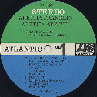 Aretha Franklin / Aretha Arrives label