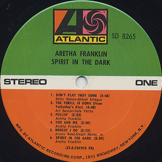 Aretha Franklin / Spirit In The Dark label