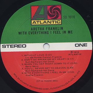 Aretha Franklin / With Everything I Feel In Me label