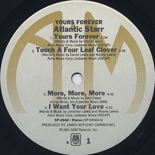 Atlantic Starr / Yours Forever label