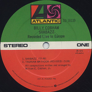 Billy Cobham / Shabazz Recorded Live In Europe label