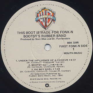 Bootsy's Rubber Band / This Boot Is Made For Fonk-N label