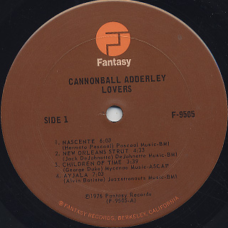 Cannonball Adderley / Lovers... label