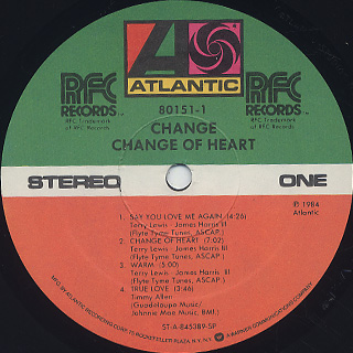 Change / Change Of Heart label