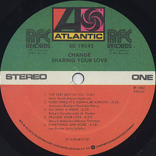 Change / Sharing Your Love label
