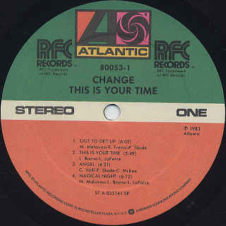Change / This Is Your Time label