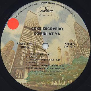 Coke Escovedo / Comin' At Ya label