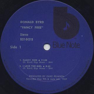 Donald Byrd / Fancy Free label