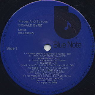 Donald Byrd / Places And Spaces label