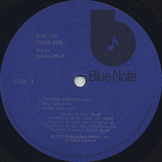 Donald Byrd / Street Lady label