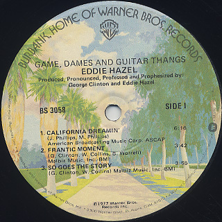 Eddie Hazel / Game, Dames And Guitar Thangs label