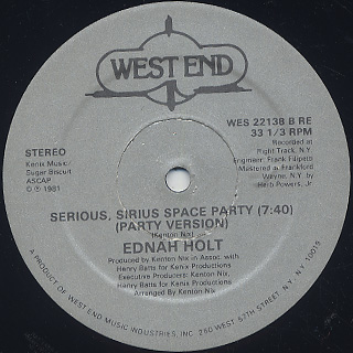 Ednah Holt / Serious, Sirius Space Party back