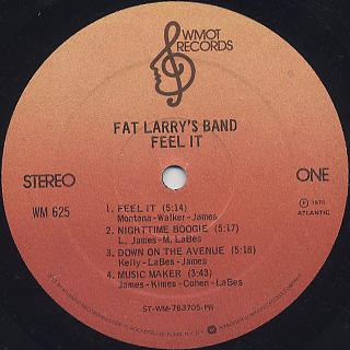Fat Larry's Band / Feel It label